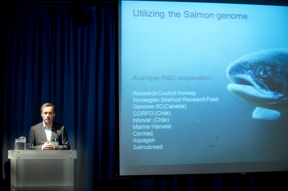 On Day Zero of the 2012 North Atlantic Seafood Forum, FHF CEO Arne E. Karlsen outlined the funds priorities in collaboration with the industry itself.  Use of total marine raw materials as bi-products are among these priorities, according to Karlsen. Photo: Gorm K. Gaare.