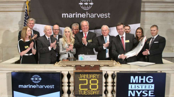Marine Harvest on the NYSE: (From left) Tor Olav Trøim, MOB,  Kristine Gramstad, Director of Communications, Leif Frode Onarheim, MOP, Henrik Heiberg,  VP Finance and Treasury, Cecilie Fredriksen, MOB, Duncan Niederauer, CEO NYSE, Ole Eirik Lerøy, COB, John Fredriksen, majority owner,   Alf-Helge Aarskog, CEO,  Ola Helge Hjetland, Communications Manager, Ingrid Erlandsen, IR Contact Manager,  Ivan Vindheim, CFO.  Photo:  Ben Hider
